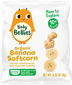 Baby Bellies Organic Softcorn Baby Snack, Banana, Pack of 7 Individual Snack Packs