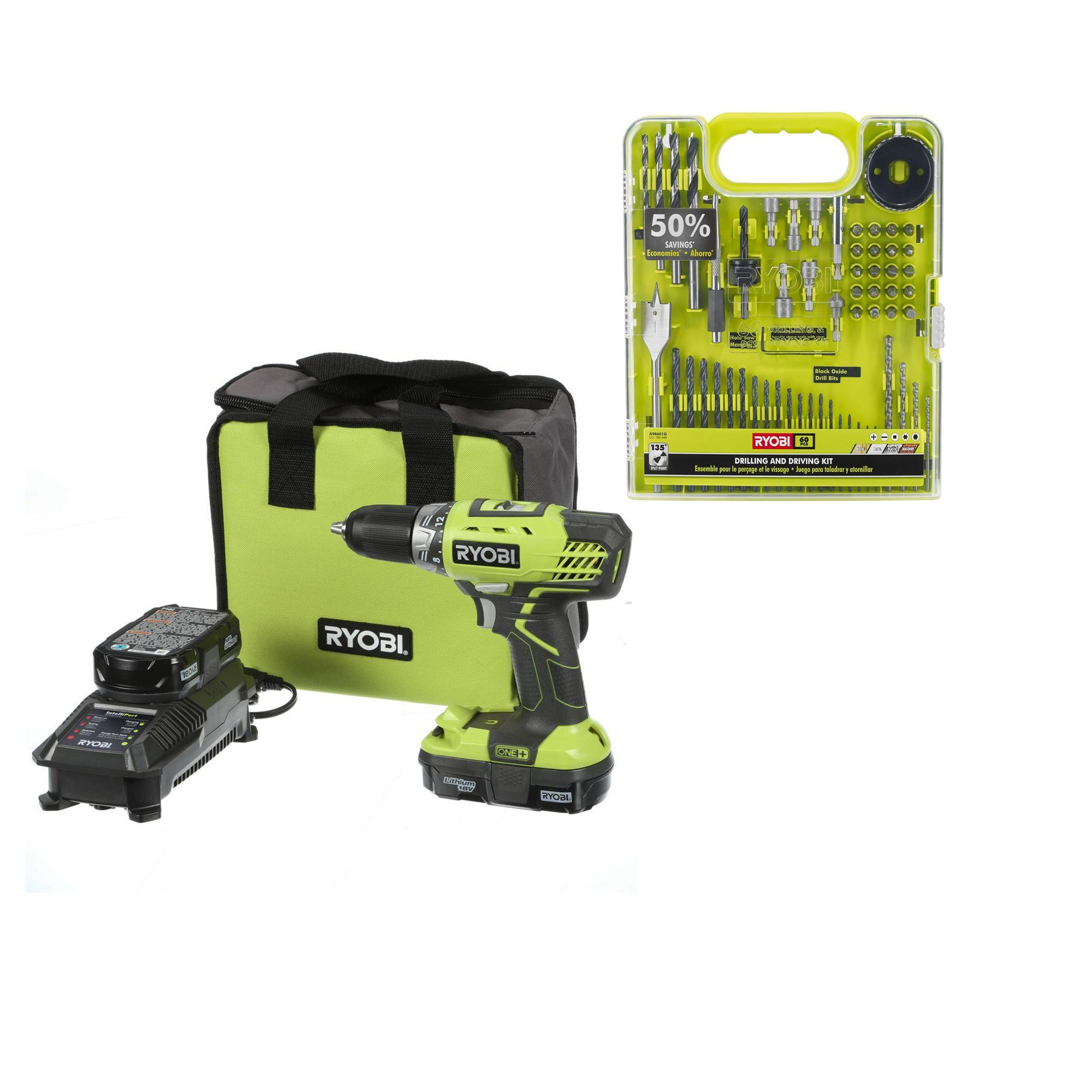 Cordless Drill Kit: Ryobi P1811 ONE+ 18-Volt Lithium-Ion Compact Drill/Driver Kit with Ryobi A98601G (60 Piece) Drill and Drive Kit (Bundle)