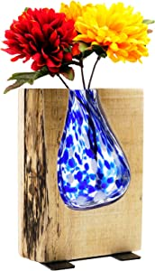"""Excello Global Products Blue Stained Glass and Wood Vase - Rustic Flower Vase Decorative Centerpieces for Dining Room Table Coffee Tables Vintage Farmhouse Decor (Short - 8"""" x 6"""")"""
