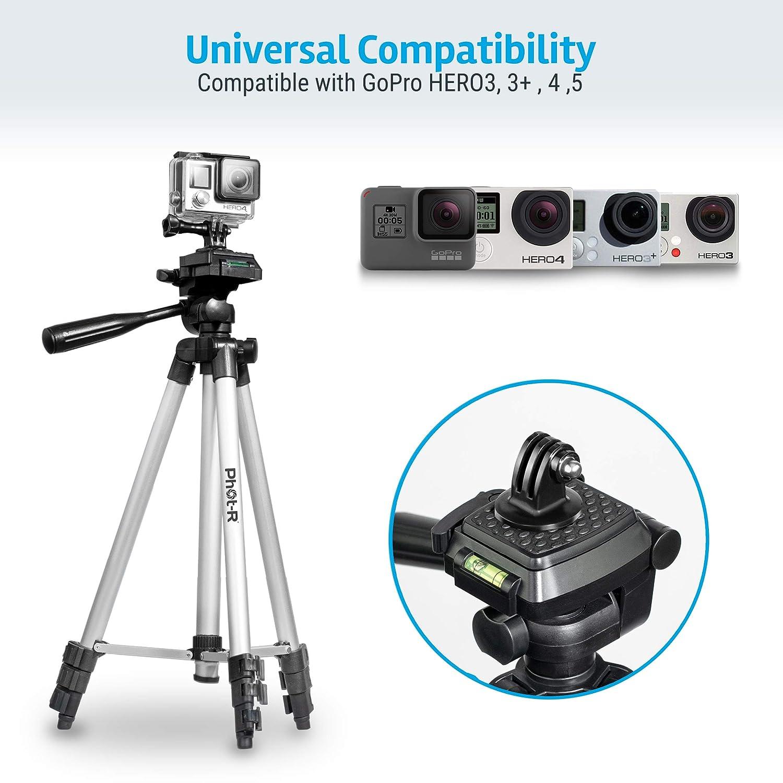 50 Phot-R Profesional 127 cm de 4 Secciones de Aluminio Universal Foto Video Soporte del tripode con 3-Way 360 /° Giro de Cabeza Redonda para los telefonos Inteligentes moviles