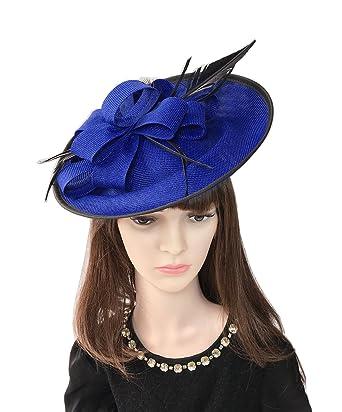 34863a3f7a1f7 YSJOY Elegant Sinamay Feather Flower Fascinator Hat Two Tone Big Derby Hat  Bridal Shower Hat Alice