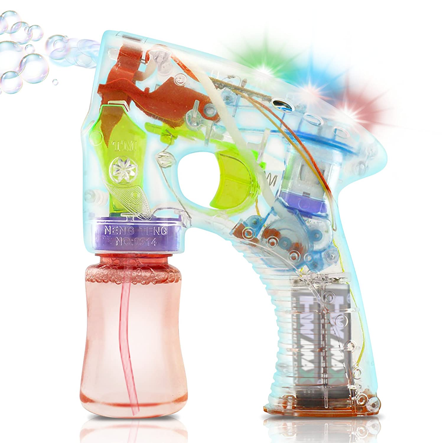 ArtCreativity Light Up Bubble Gun | Medium Lightweight Design | Perfect for Summertime | Fun Engaging and Entertaining | Party Favor Amazing Gift Idea for Boys and Girls Batteries Included