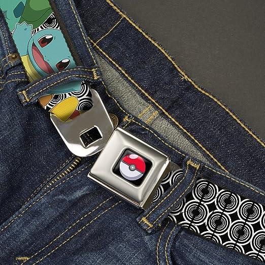 20-36 Inches in Length 1.0 Wide Buckle-Down Seatbelt Belt Kanto Starter Pokemon /& Pikachu C//U Rings Black//White