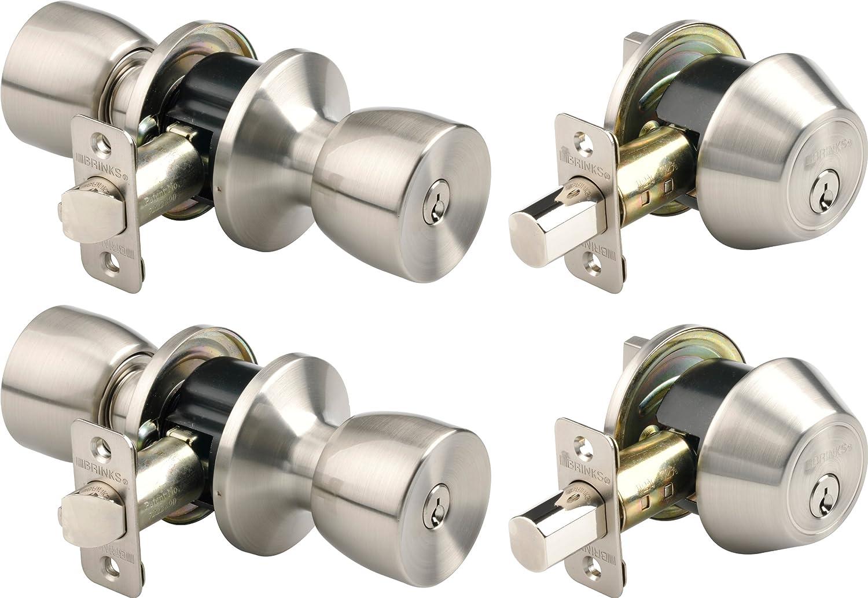 Brinks 2798-119 Bell Style Keyed Alike Door Knob and Deadbolt Set, Satin Nickel, 2-Pack by BRINKS  B0083XHOVY