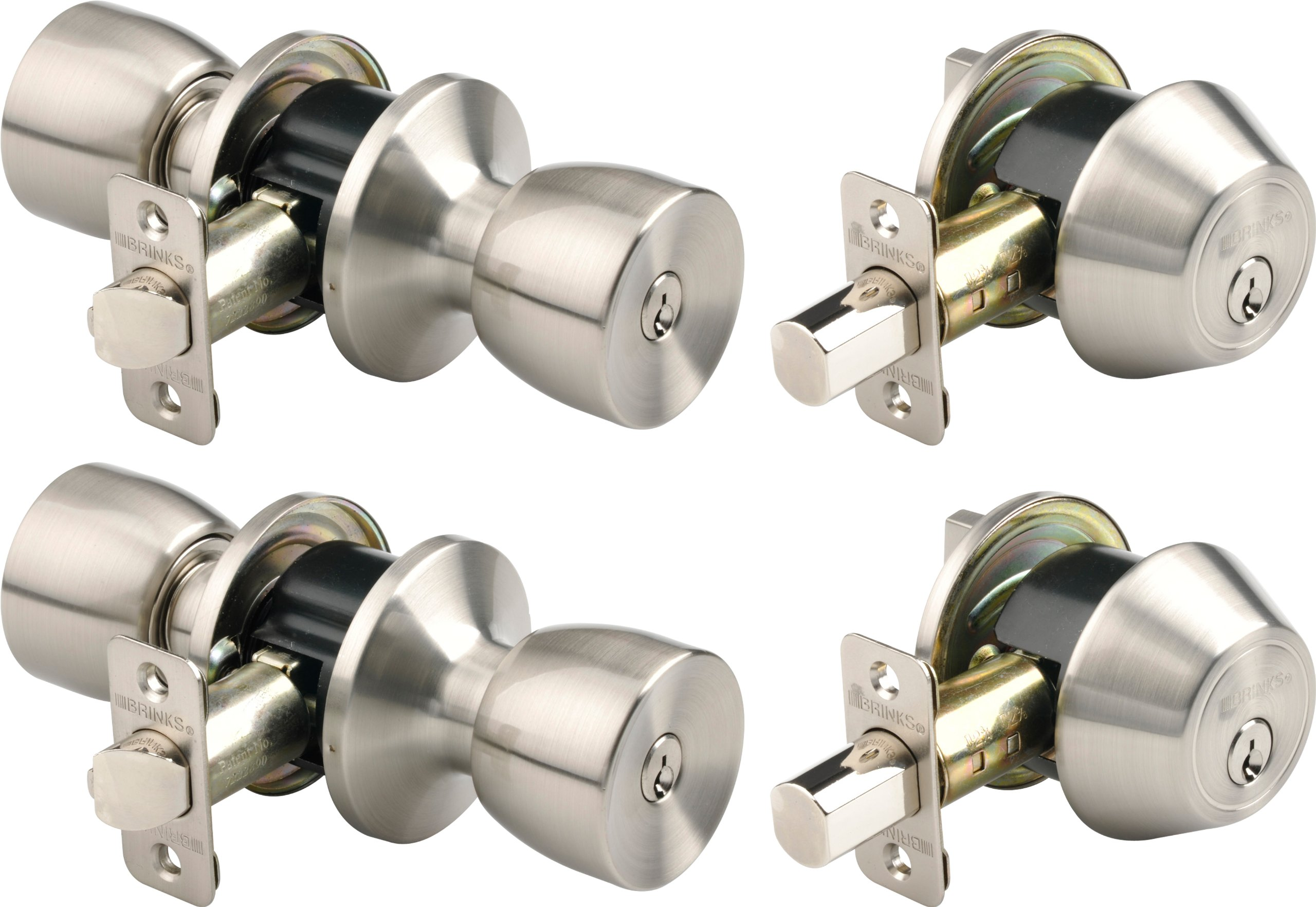 Brinks 2798-119 Bell Style Keyed Alike Door Knob and Deadbolt Set, Satin Nickel, 2-Pack