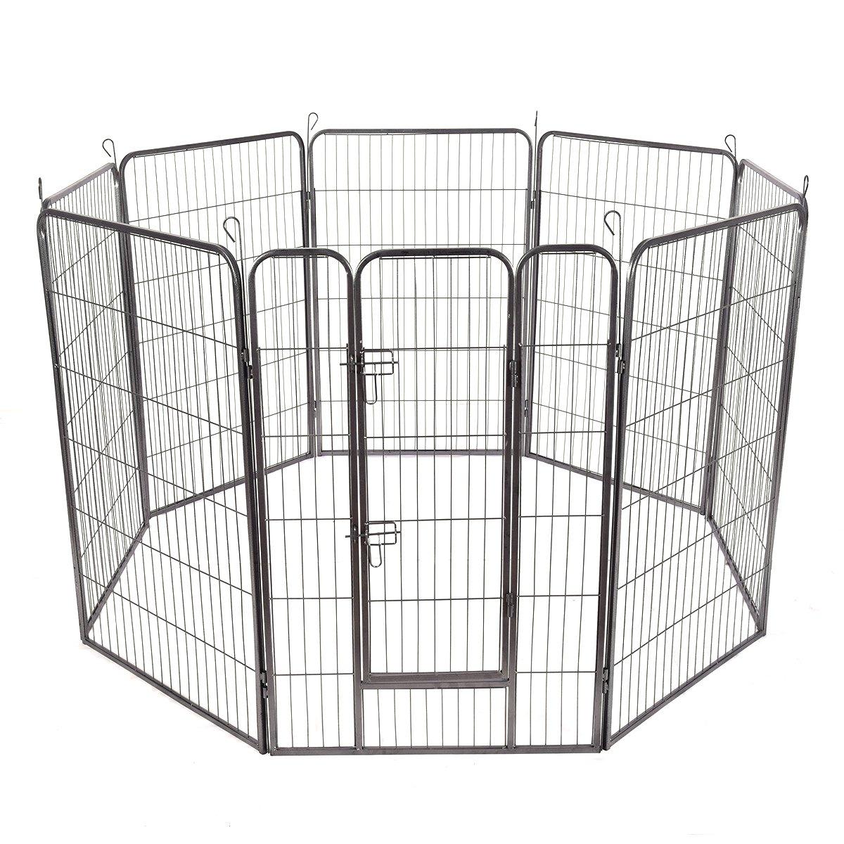 Giantex 8 Panel Pet Puppy Dog Playpen Door Exercise Kennel Fence Metal (48'')