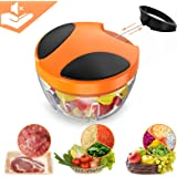MUPAI Manual Garlic Chopper with 3-Blades,Compact and Powerful Hand Held Vegetable Chopper/Mincer/Blender to Chop Meat/Fruits/Vegetables/Nuts/Herbs/Onions/Food for Salsa/Salad/Pesto/Coleslaw