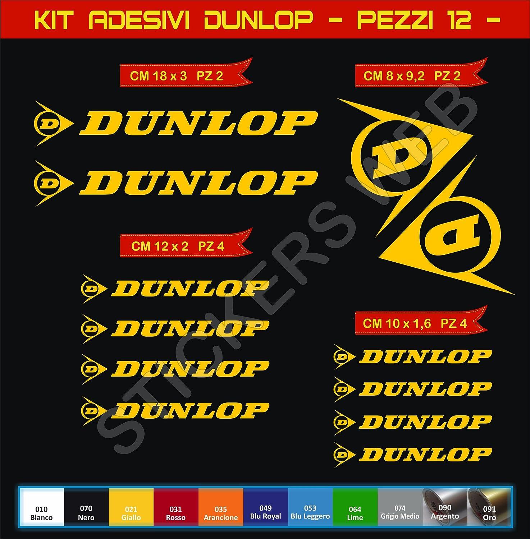 Scegli Colore Bike Motorbike cod.0569 12 Pezzi- Pimastickerslab Kit Adesivi Stickers Dunlop Sponsor Tecnici gomme Pneumatici Moto Scooter