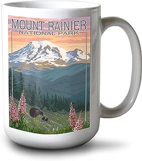 product image for Lantern Press Mount Rainier National Park, Washington - Bear and Cubs with Flowers (15oz White Ceramic Mug)