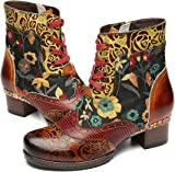 3b0d92e1f55 gracosy Ankle Boots Women Flat Leather Boots New Printing Plant Bohemian  Handmade Pattern Lace Up Low