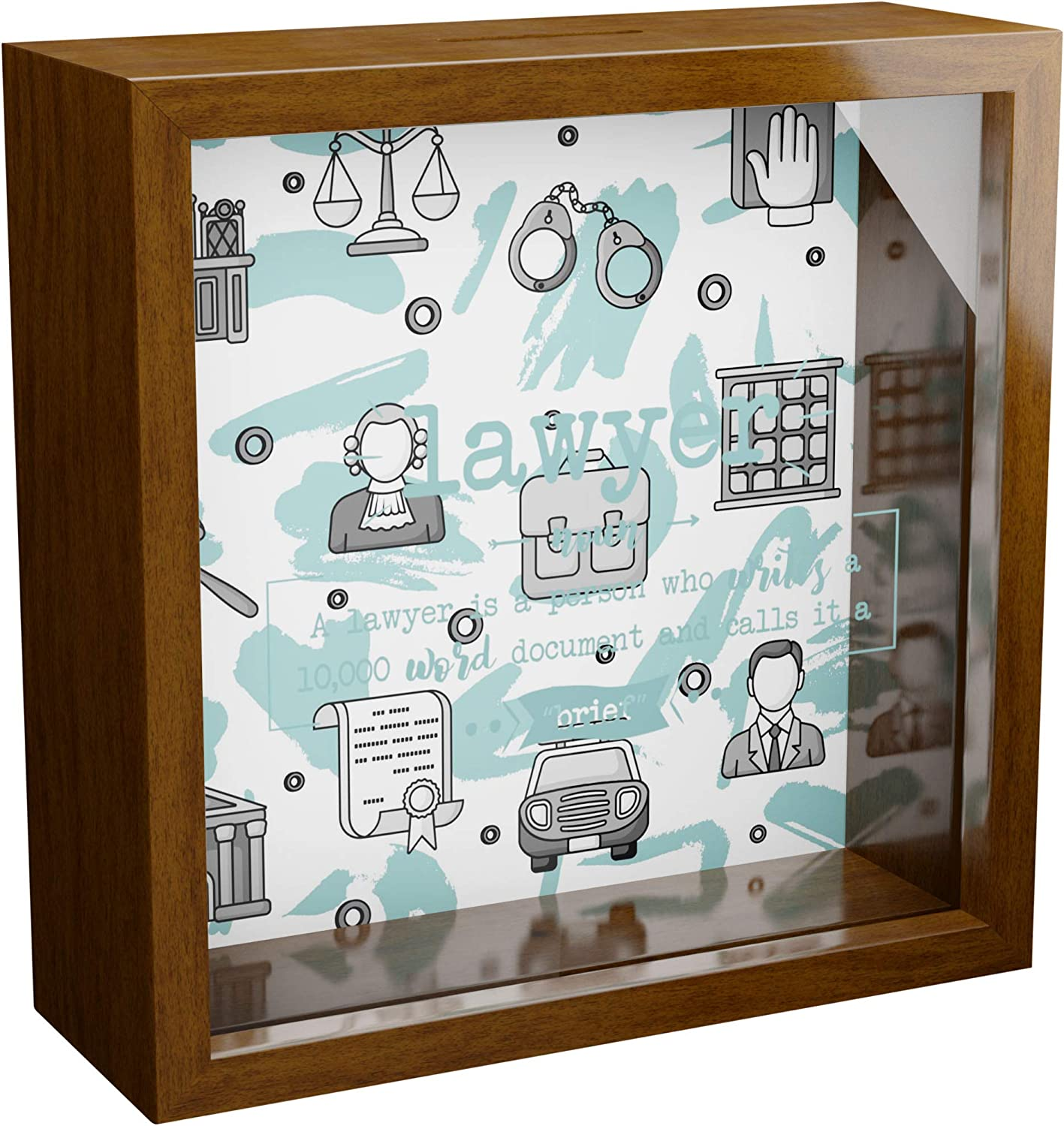 Gifts for Lawyers | 6x6x2 Wooden Shadow Box with Glass Front | Wood Keepsake Frame for Attorney Men & Women | Future Lawyer Gift for Law Student |Home or Office Wall Decor
