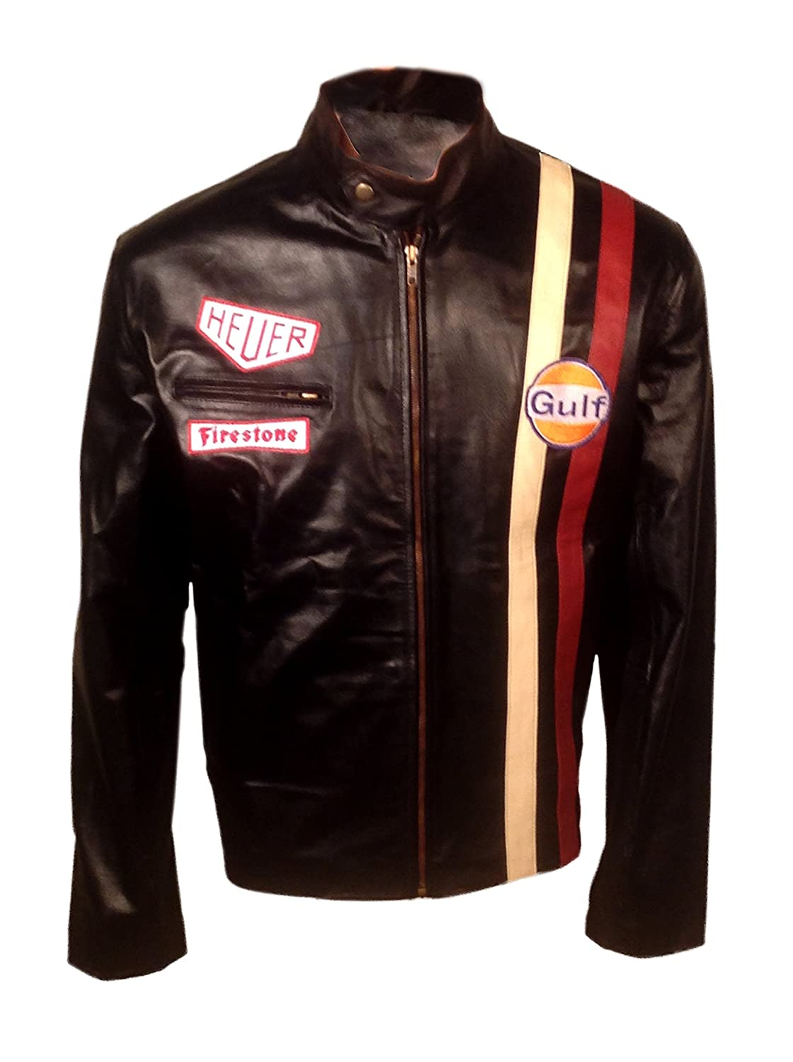 Gulf Steve McQueen Classic Grand Prix Stylish Leather Biker Jacket