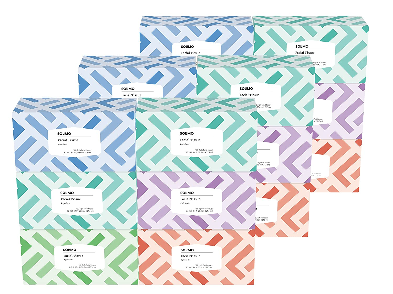 Amazon Brand - Solimo Facial Tissues, 160 Tissues per Box (18 Flat Boxes)