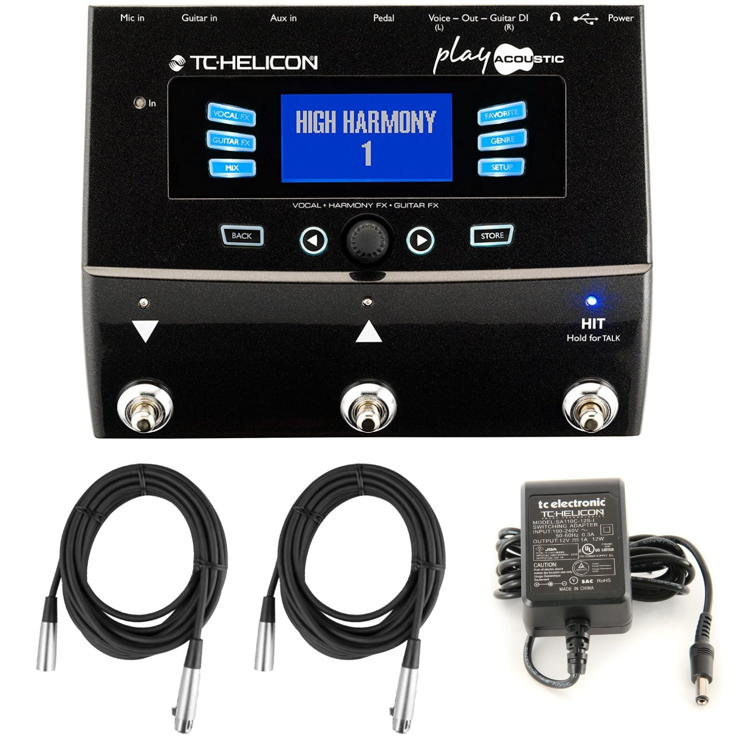 TC Helicon Play Acoustic Vocal Effects Processor Bundle with (2) 20' XLR Cables