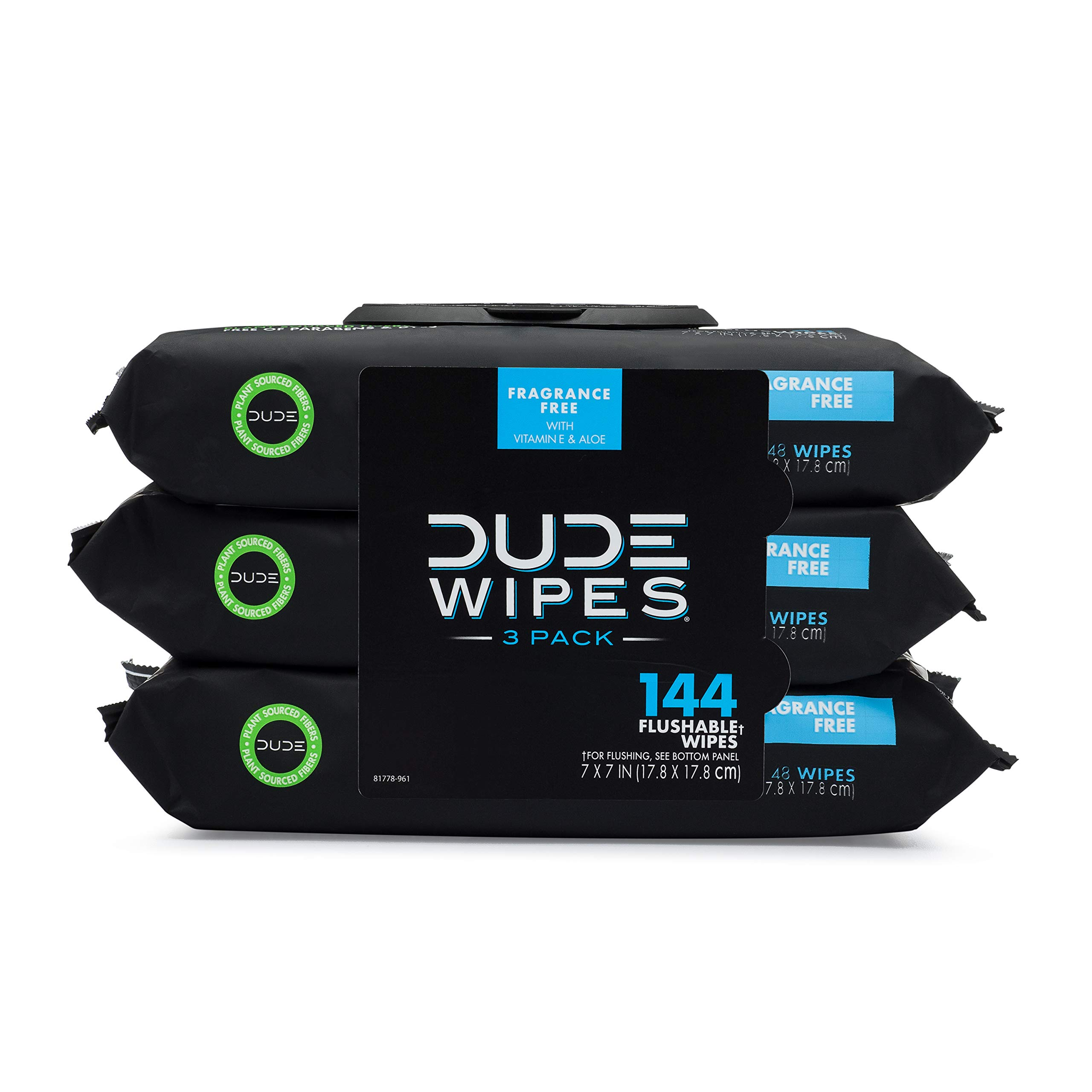 Dude Wipes Flushable Wipes Dispenser (3 Packs 48 Wipes), Unscented Wet Wipes with Vitamin-E & Aloe for at-Home Use, Septic and Sewer Safe, 48 Count (Pack of 3)