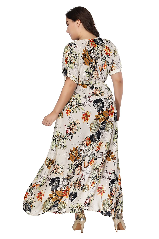 05d0a51350b7 MERRYA Women s Plus Size Vintage Deep V Neck Floral Wrap Split Maxi Dress  at Amazon Women s Clothing store