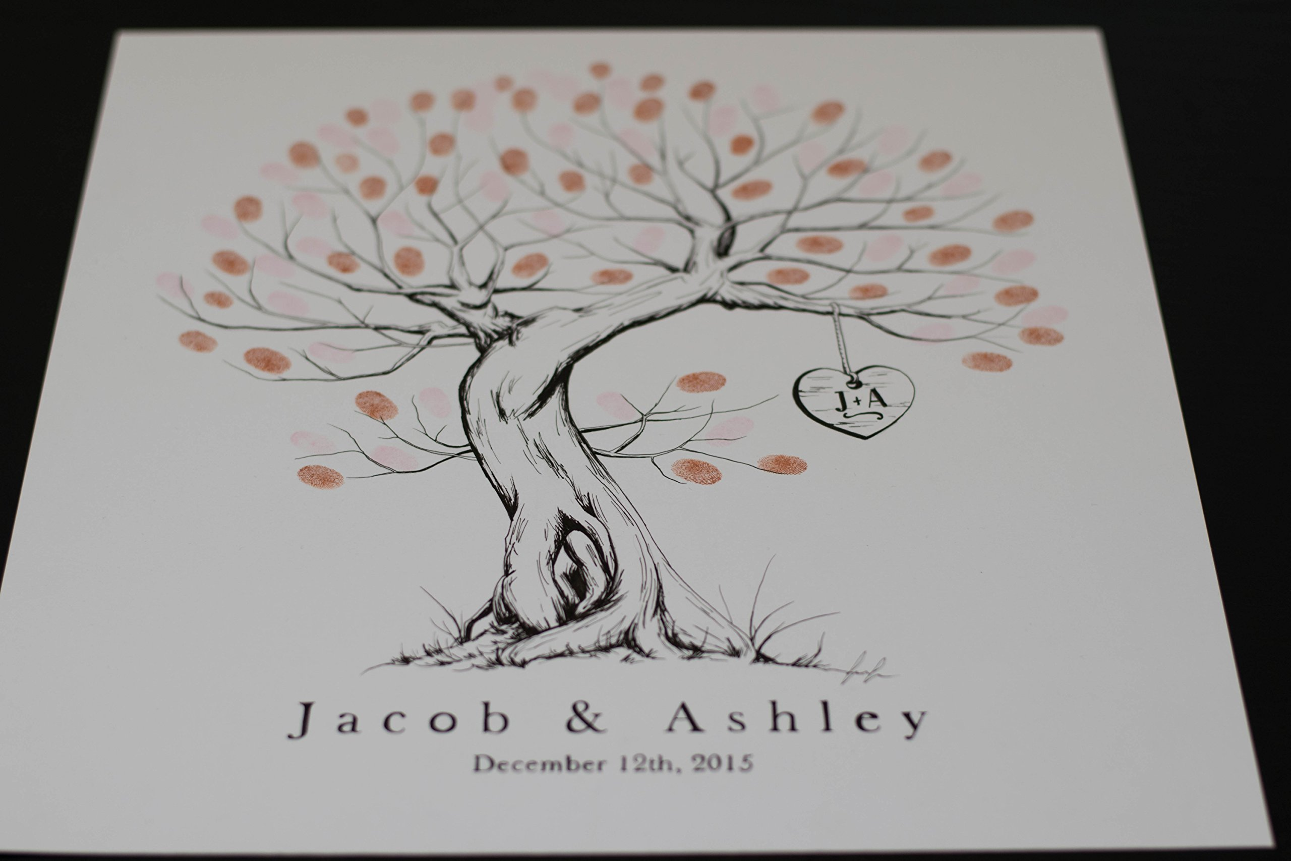 Fingerprint Tree custom wedding guestbook - Original thumbprint guest book alternative (Small Size Ficus Ink) includes 1 ink pad!!
