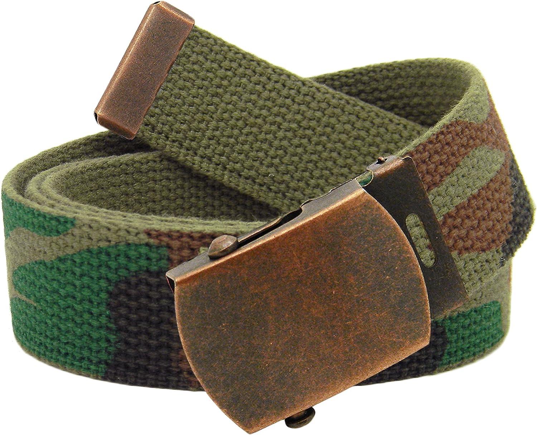 Antique Copper Mens Slider Military Belt Buckle with Canvas Web Belt