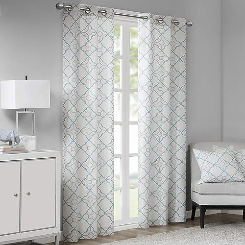 Madison Park Hayes Cotton Duck Printed Grommet Window Curtain Panels Pair Drapes