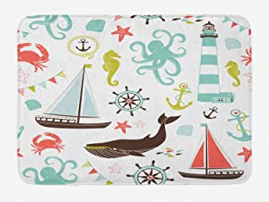 """Ambesonne Nautical Bath Mat, Pastel Colored Composition of Lighthouse Sailboat Fish Shells Octopus and Anchor, Plush Bathroom Decor Mat with Non Slip Backing, 29.5"""" X 17.5"""", Coral Turquoise"""