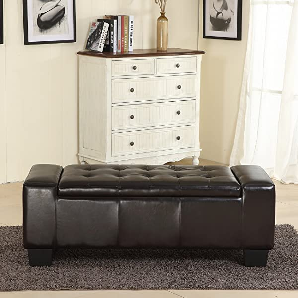 "Belleze 51""-inch Storage Ottoman Bench Black Faux Leather Large Rectangular Tufted"