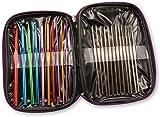 1 X Pack Of 22 Sizes Multi-colour Aluminum & Steel Crochet Hooks Needles Yarn Weave Knit Craft Set In Case