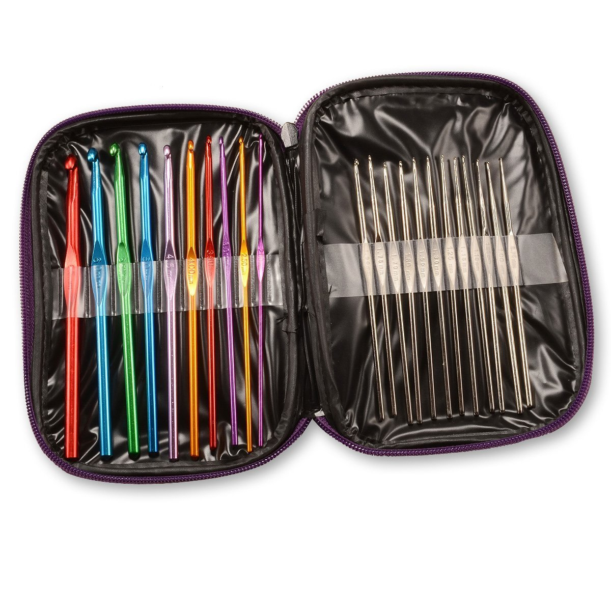 Estuche de agujas de ganchillo Maks aluminio y acero, 22 tama/ños, multicolor