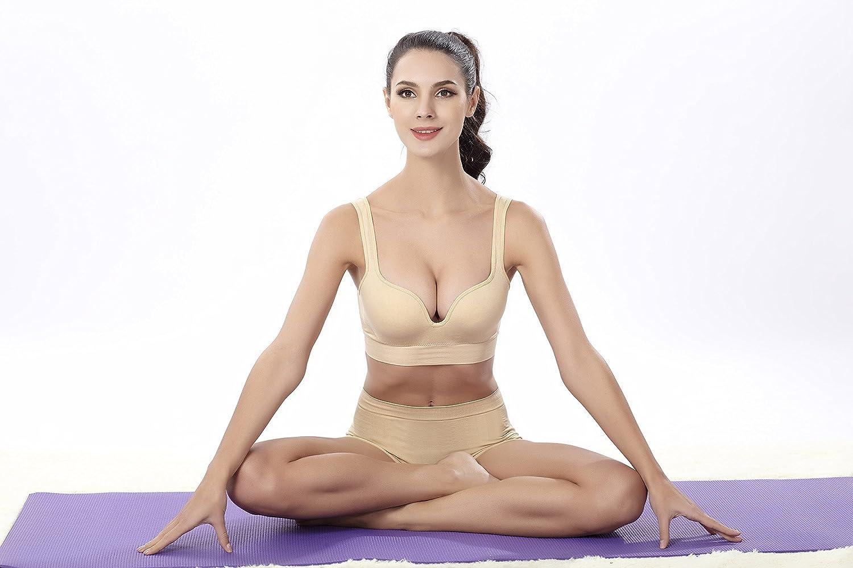 Reggiseno Push Up Imbottito Senza Ferretto per Yoga Forma Fisica Allenamento SPRINGMING Reggiseno Sportivo da Donna