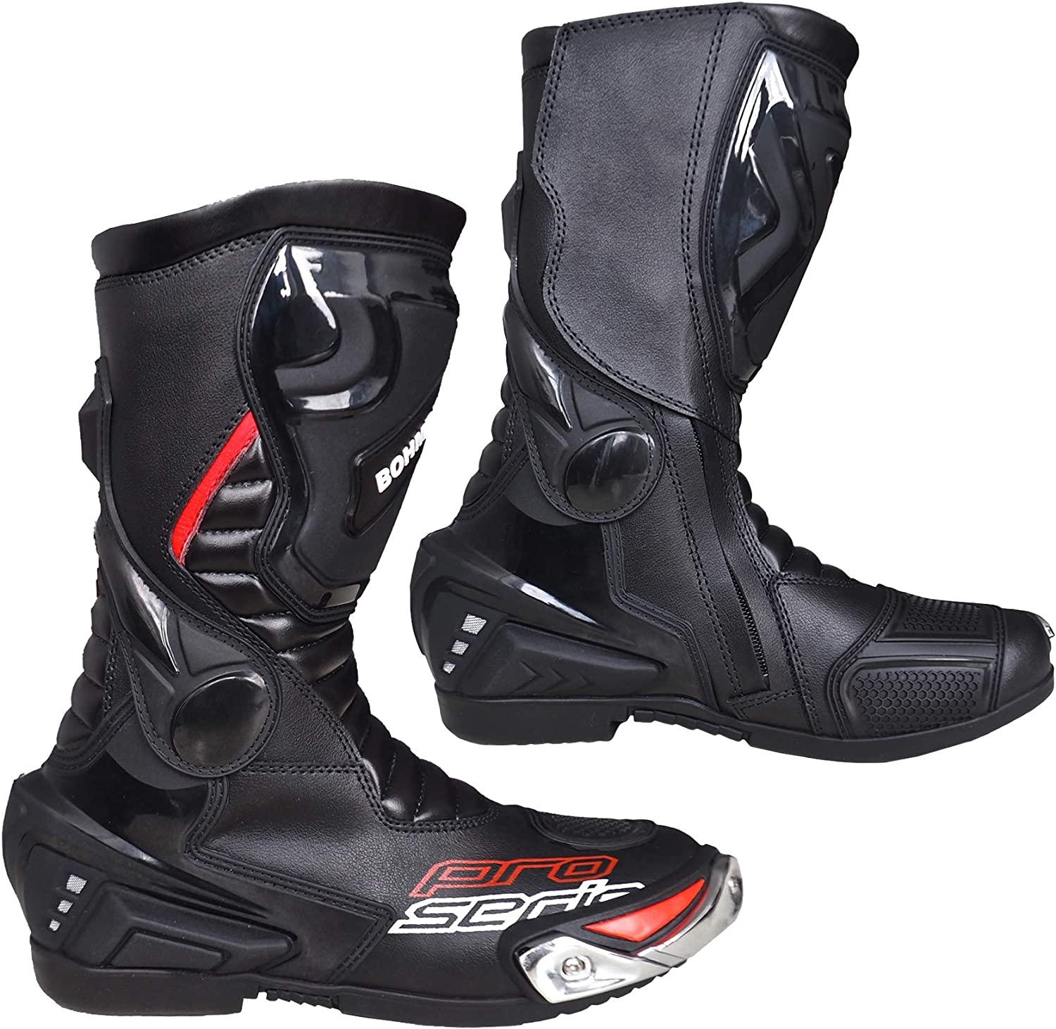 Black UK 10 Motorcycle Shoes Waterproof Made of Heavy Leather with Hard Shell Protectors Sports Boots Made of Leather Mens Motorcycle Boots