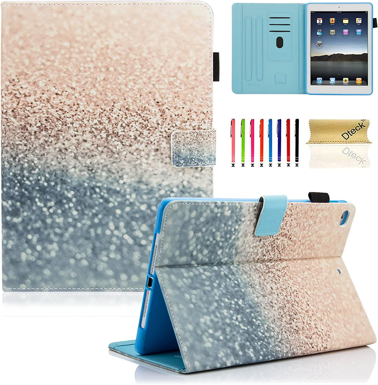 iPad 9.7 inch 2018 2017 Case / iPad Air Case / iPad Air 2 Case, Dteck PU Leather Folio Smart Cover with Auto Sleep Wake Stand Wallet Case for Apple iPad 6th / 5th Gen,iPad Air 1 / 2, Beach Sand