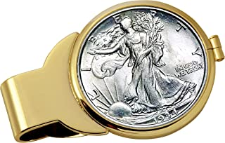 product image for Coin Money Clip - Silver Walking Liberty Half Dollar | Brass Moneyclip Layered in Pure 24k Gold | Holds Currency, Credit Cards, Cash | Genuine U.S. Coin | Includes a Certificate of Authenticity