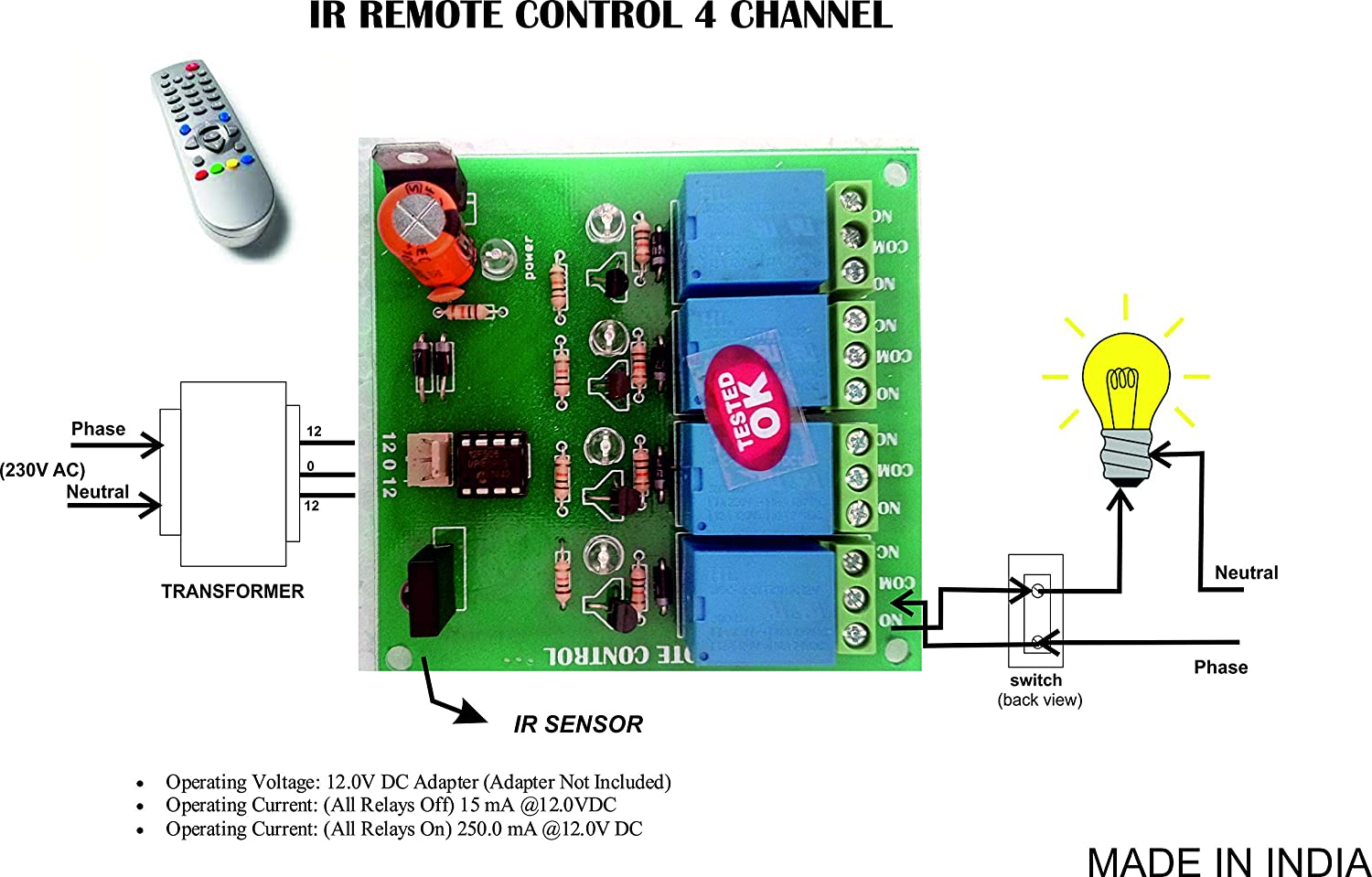 Buy Wireless Infrared Ir Remote Control 4 Channel Board Home Transmitter Integrated Circuit Industrial Automation Online At Low Prices In India