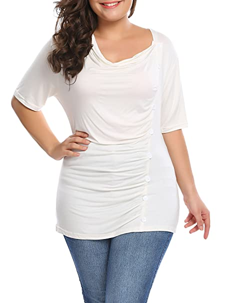 3c548b57568a Involand Womens Plus Size Solid Short Sleeve T Shirt Draped Neck Button  Front Top Blouse Tee