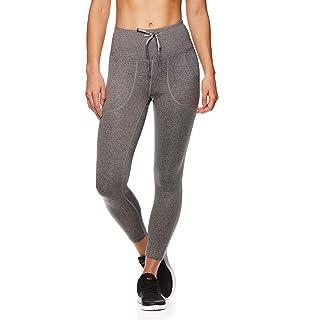 Reebok Women's Capri Workout Leggings w/Mid-Rise Waist - Cropped Performance Compression Tights - Momentum Flint Grey Heather, Large