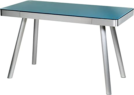 Amazon.com: OneSpace Easy Assembly Cool Blue Glass Writing Desk ...