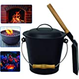 EasyGoProducts EGP Mini Bucket with Shovel and Lid – Metal Hot Wood Ash Pail-Firepl, Black