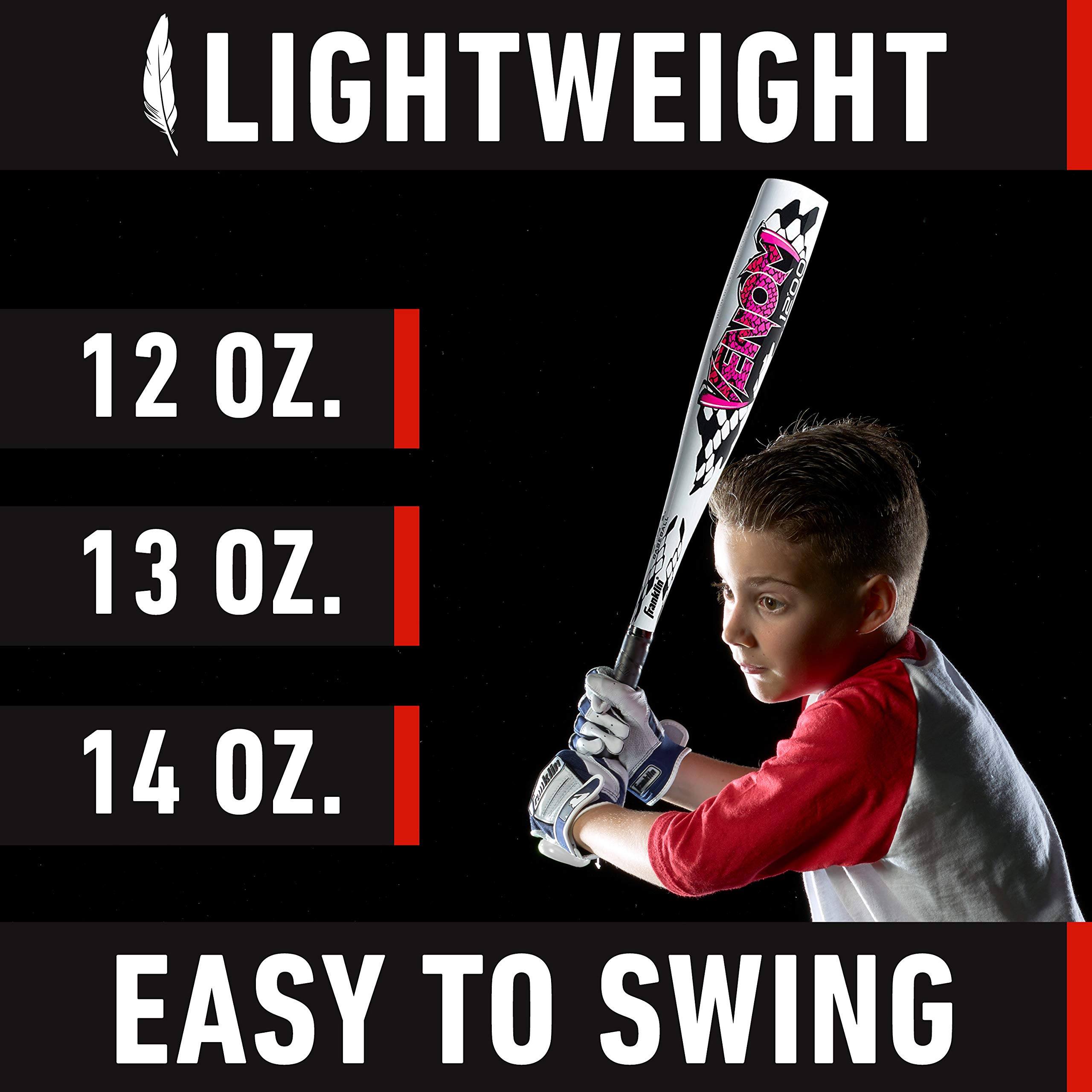 Franklin Sports Venom 1000 Official Teeball Bat Perfect for Soft Core Tee Balls, 25''/13 oz by Franklin Sports (Image #6)
