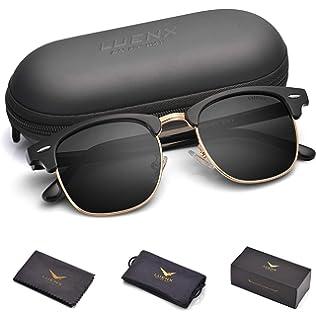 d95450fc7e3b4 LUENX Men Semi Rimless Polarized Sunglasses Women UV 400 Protection Black  Lens Black Glossy Retro Classic