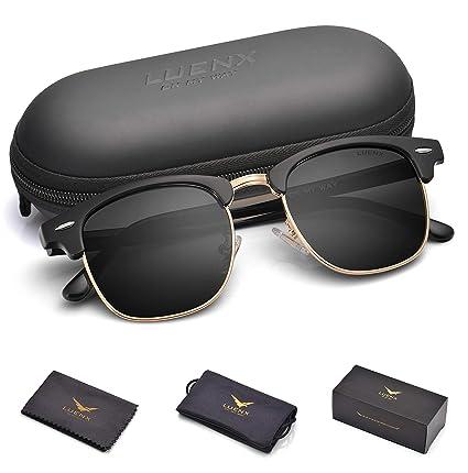 28138899b8 Amazon.com   LUENX Men Semi Rimless Polarized Sunglasses Women UV 400  Protection Black Lens Black Glossy Retro Classic Frame 51MM