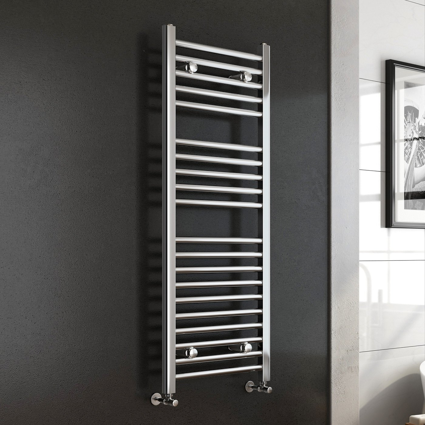 Natasha ladder rail straight modern electric towel radiator in chrome - Ibathuk 1200 X 450 Premium Straight Heated Towel Rail Chrome Bathroom Radiator All Sizes Ibathuk Amazon Co Uk Diy Tools