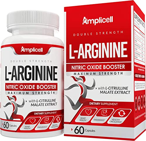 Double Strength L-Arginine – Nitric Oxide Booster with Beta Alanine L-Citrulline – Heart Health Blood Flow Support – Post Workout Pre Workout Supplements – 60ct L Arginine Supplement Capsules