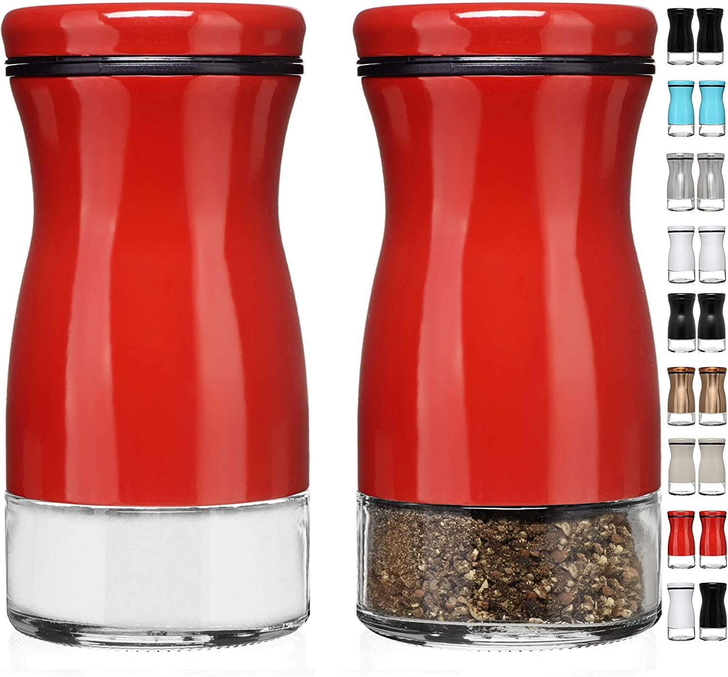 CHEFVANTAGE Salt and Pepper Shakers Set with Adjustable Pour Holes - Red
