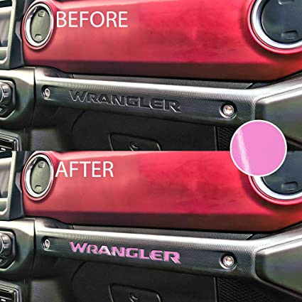 Letter Insert Overlay Vinyl Decal Sticker Letters for Dashboard Glove Box Compatible with Jeep JL Wrangler 2018 2019 2020 Gloss Pink Bogar Tech Designs