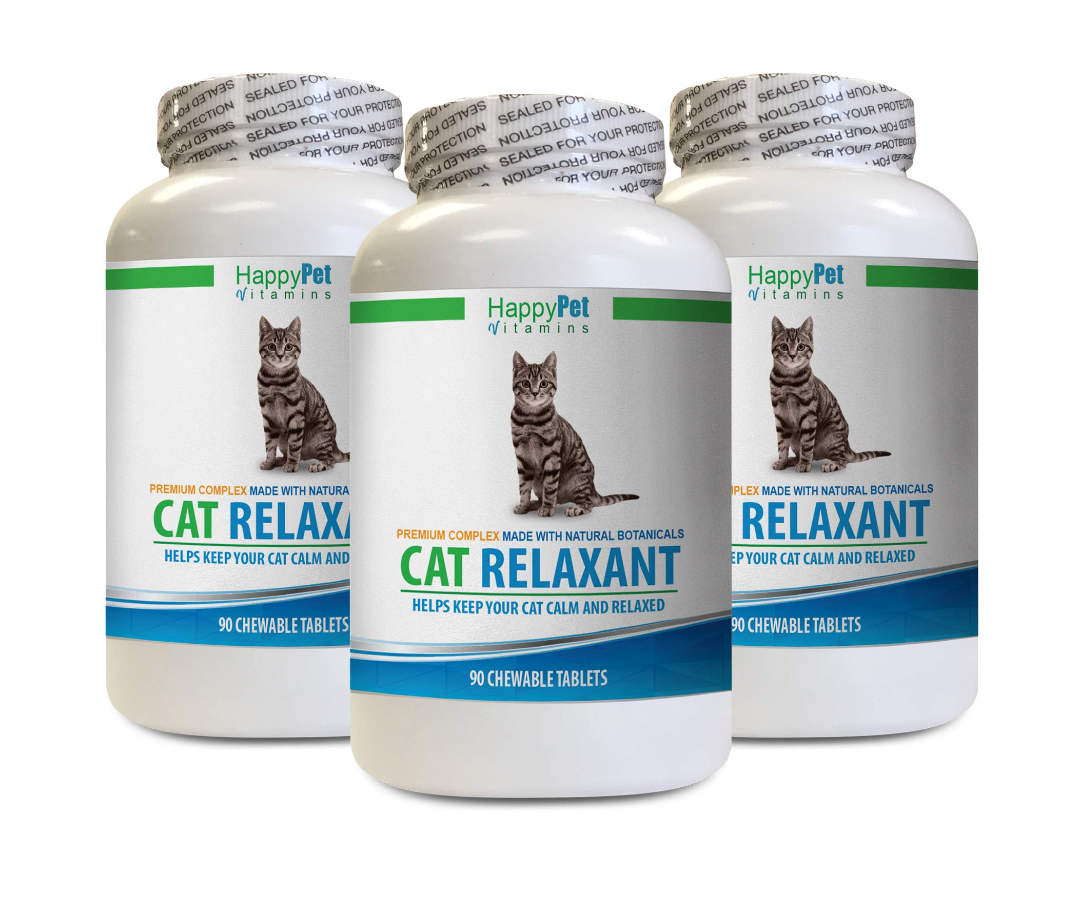 HAPPY PET VITAMINS LLC cat Calm Refill - CAT Relaxant - Anxiety and Stress Relief - Natural Calmer - Premium - cat Stress Stopper - 3 Bottles (270 Chewable Tabs) by HAPPY PET VITAMINS LLC