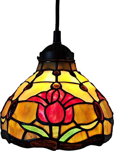 Tiffany Style Hanging Pendant Lamp 8″ Wide Stained Glass Shade Red Fixture Floral Tulips Antique Vintage 1 Light Decor Restaurant Game Room Living Room Kitchen Gift AM001HL08B Amora Lighting
