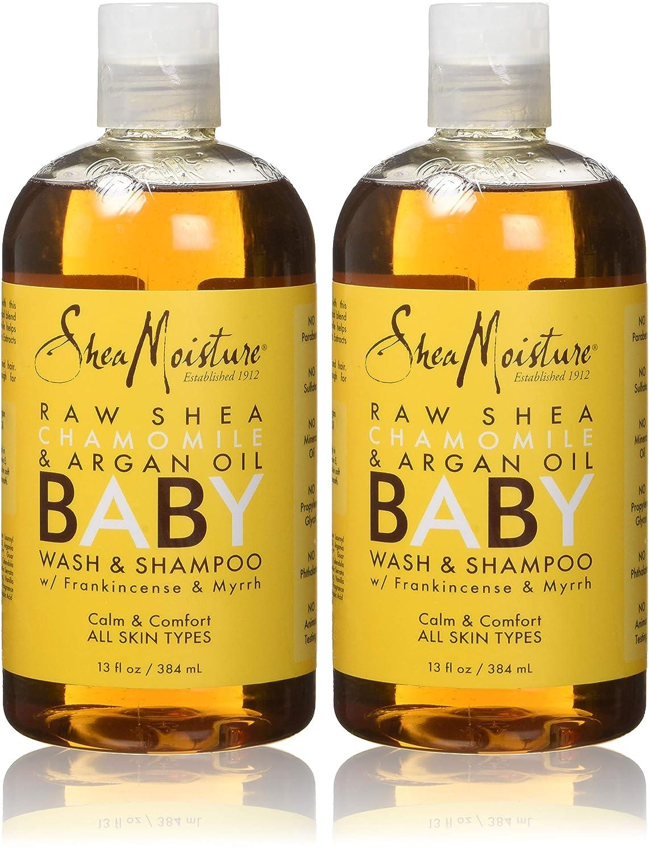 Shea Moisture Baby Shampoo & Wash 13 Fl Ounce Chamomile & Argan Oil (384ml) (2 Pack)