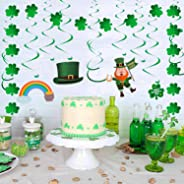 YIHONG St. Patrick's Day Decorations Set, 30 Pieces Lucky Irish Green Shamrock Foil Swirl String Hanging Decoration for Home
