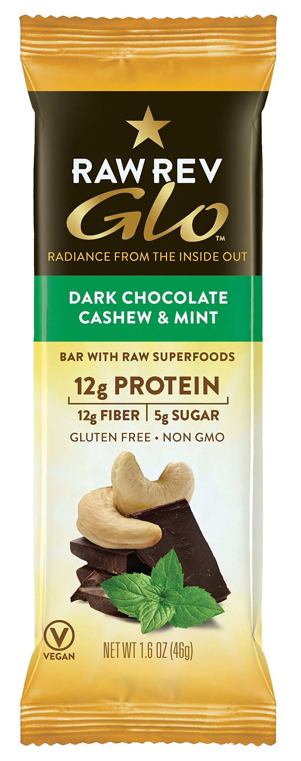 Raw Rev Glo Vegan, Gluten-Free Protein Bars - Dark Chocolate Cashew Mint 1.6 ounce (Pack of 12)