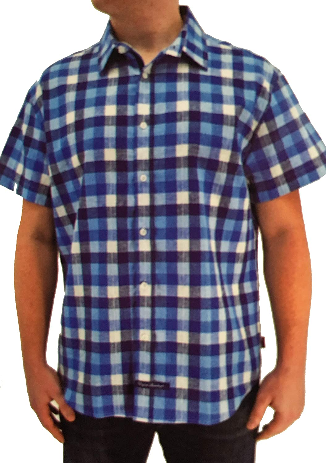 English Laundry Short Sleeve Plaid Shirt (Medium, Blue/Navy Plaid)
