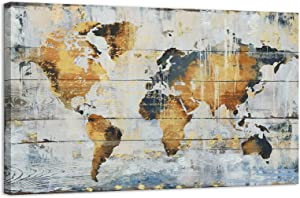 Kas Home Abstract Art - Large Vintage World Map - Gold Foil Canvas Prints Large Framed Wall Art Wall Paintings for Living Room Office Wall Decor (24 x 36 inch, World Map Framed)
